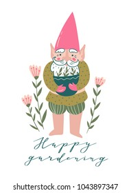 Cute garden gnome with a pot with seedlings and flowers. Vector illustration in hand drawn style with phrase - 'Happy gardening'.