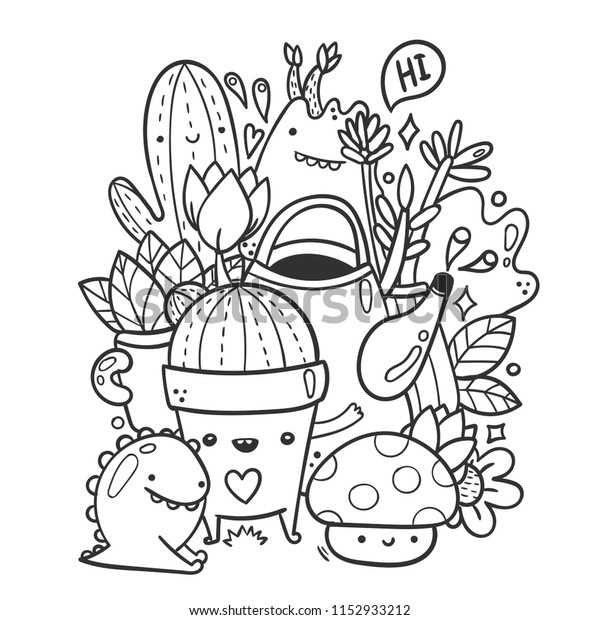 - Cute Garden Monsters Doodle Coloring Page Stock Vector (Royalty Free)  1152933212
