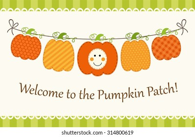 Cute garland with different pumpkins as retro card for Pumpkin Patch or Happy Thanksgiving