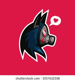 Cute gas mask with wolf or cat ear on pink background illustration logo for gamer esport or tshirt