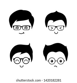 Cute geek boys vector icons of set. Geek boy face character young, smile, guy in glasses illustration