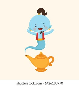 Cute Genie with gold lamp