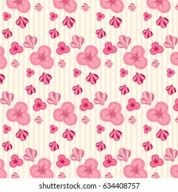 Cute gentle pink cartoon flower pattern
