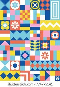 Cute geometric pattern. Card in scandinavian style. Vector illustration.