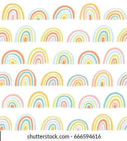 Cute geometric pattern. Hand drawn rainbow doodle vector seamless background in bright colors. Summer design.