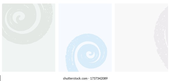 Cute Geometric Vector  Layouts. White Free Hand Swirl Isolated on a Pastel Blue, Soft Green and Light Gray Background. Simple Abstract Vector Prints Ideal for Layout, Cover.