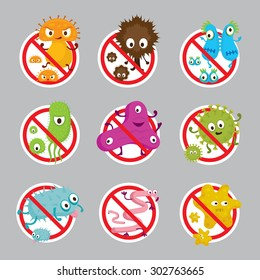 Cute Germ Characters Prohibition Sign, Bacteria, Virus, Microbe, Pathogen