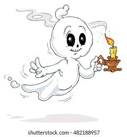 Cute Ghost with Candle - Halloween Illustration