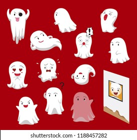 Cute Ghost Cartoon Red Background Vector Illustration