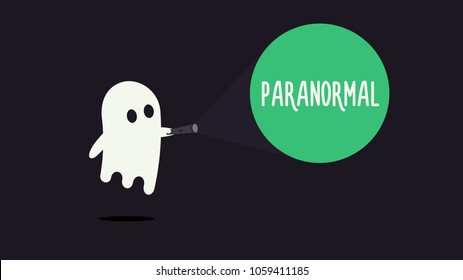 Cute ghost character pointing with his flashlight to the word Paranormal. Vector illustration design