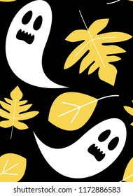 Cute ghost with foliage on black background. Halloween Seamless pattern vector