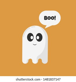 Cute ghost. Halloween ghost with speech bubble isolated on orange background. Happy Halloween. Halloween symbol. Text Boo! Greeting card. Flat design. Vector illustration