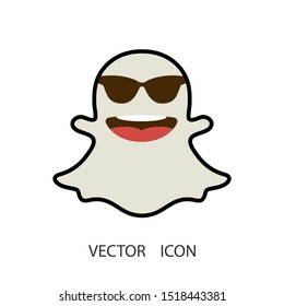 Cute ghost .Halloween symbol. Snapchat logo. Vector illustration.