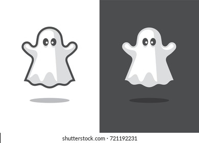 Cute ghost icon isolated on black and white backgrounds. Halloween symbol. Spooky logo.