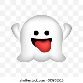 Cute Ghost Icon on Transparent Background . Isolated Vector Illustration