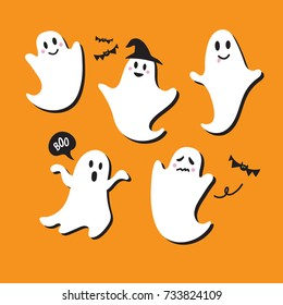 Cute Ghost Vector Illustrations for Kids on Halloween