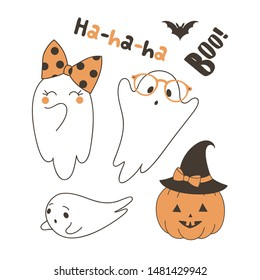 Cute ghosts flat vector illustrations set. Flying bat, frightened spook specter in glasses, laughing ghost wearing bow, pumpkin in hat isolated cliparts pack. Halloween characters on white background