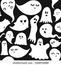 Cute ghosts Halloween seamless pattern, doodle design set. Retro badges. Hand drawn isolated emblem with characters. Halloween party sign or logo. Good for posters, greeting cards, banners, textiles.