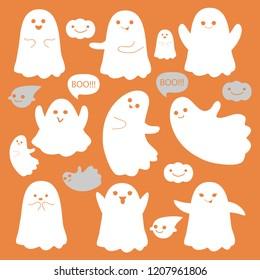 cute ghosts icons on orange halloween