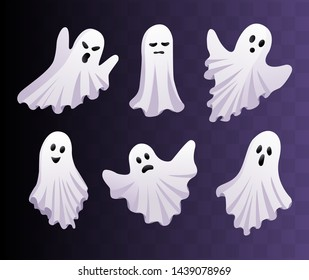Cute ghosts set. Vector Halloween concept. Ghost icons isolated