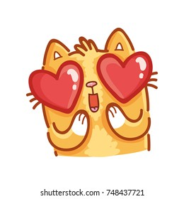 Cute ginger Cat: adorable, admire, wonder, madly in love emotion with heart eyes. Set of kitty, kitten character in vector hand drawn style, doodle cartoon illustration. As mascot, sticker, emoji
