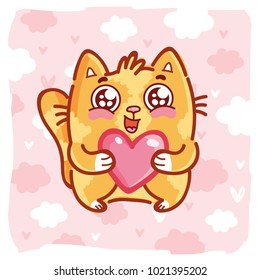 Cute ginger Cat character with googly eyes madly in love holding big heart on pink romantic background. Cute hand drawn art illustration in cartoon, doodle style