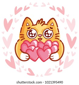 Cute ginger Cat character with googly eyes madly in love holding many hearts on pink romantic background. Cute hand drawn art illustration in cartoon, doodle style