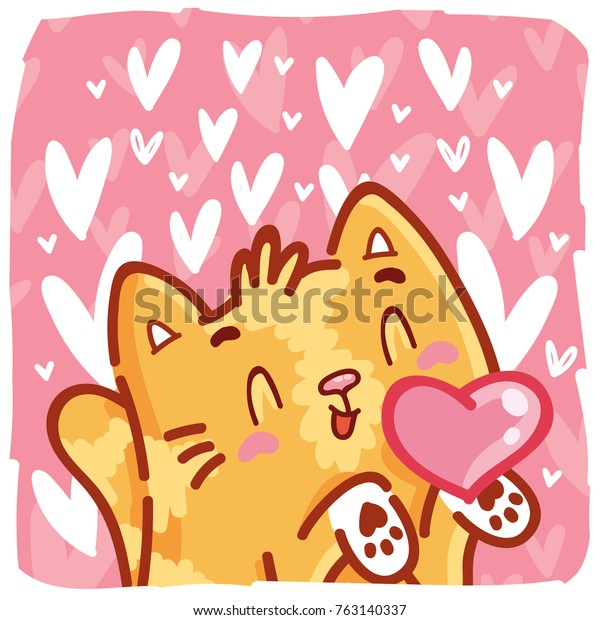 Cute ginger Cat character in love on romantic pink background with hearts. Vector illustration art in cartoon, doodle, hand drawn style: for greeting cards, poster, banner, wedding, invitation