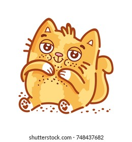 Cute ginger Cat: eater, ate too much, gourmand, loves to eat, with big belly and crumbs. Set of kitty, kitten character in vector hand drawn style, doodle cartoon illustration. As mascot, sticker