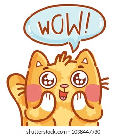 Cute ginger Cat excited with admiring look and googly eyes saying Wow. Hand drawn character art illustration in cartoon style as logo, mascot, sticker, emoji, emoticon