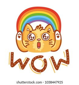 Cute ginger Cat excited with admiring look, googly eyes and rainbow saying Wow. Hand drawn character art illustration in cartoon style as logo, mascot, sticker, emoji, emoticon