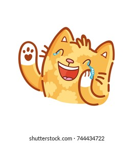 Cute ginger Cat: laughing hard, kidding, joking, happy emotion. Set of kitty, kitten character in vector hand drawn style, doodle cartoon illustrations. As logo, mascot, sticker, emoji, emoticon