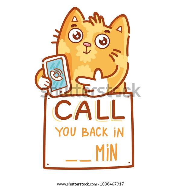 Cute Ginger Cat Pointing Finger On Stock Vector (Royalty