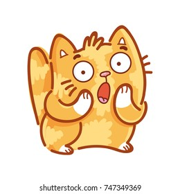Cute ginger Cat: surprised, astonished, amazed, dazed, shocked emotions. Set of kitty, kitten characters in vector hand drawn style, doodle cartoon illustrations. As mascot, sticker, emoji, emoticon