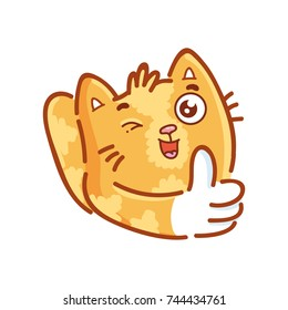 Cute ginger Cat: thumbs up, like sign, happy, good mood emotion. Set of kitty, kitten character in vector hand drawn style, doodle cartoon illustrations. As logo, mascot, sticker, emoji, emoticon