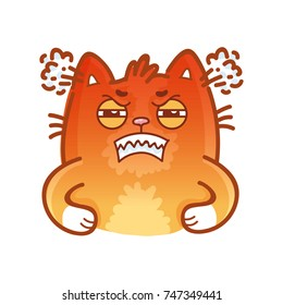 Cute ginger Cat: very angry, rage, fury, annoyed, offended emotions. Set of kitty, kitten characters in vector hand drawn style, doodle cartoon illustrations. As mascot, sticker, emoji, emoticon