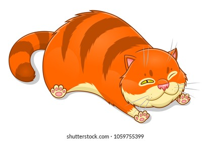 Cute ginger fat cat. Vector illustration.