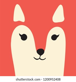 Cute ginger fox cartoon animal portrait with smiling face red animal head card with copy space vector illustration