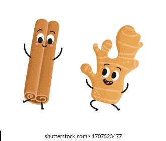 Cute ginger and happy cinnamon dance on white background. Cute cartoon spice character set. Rolled cinnamon stick and aromatic ginger jumping and having fun. Illustration for kids.