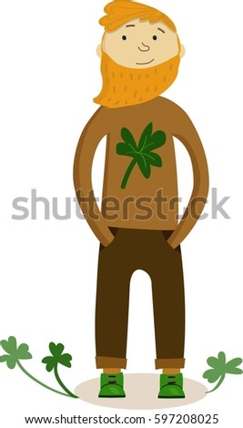 eb01902b3f4 Cute ginger Irish bearded man character in ginger-brown sweater with  clover. Isolated.