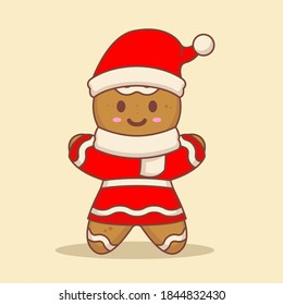 Cute Gingerbread character with Christmas costume
