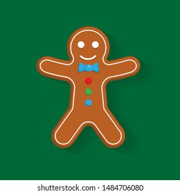 cute gingerbread man cookie. cartoon style.gingerbread man color icon with shadow.