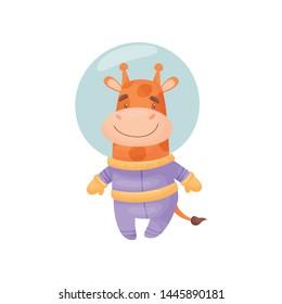 Cute giraffe astronaut. Vector illustration on white background.