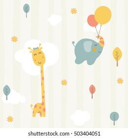 cute giraffe and baby elephant seamless pattern