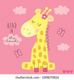 cute giraffe with butterflies and clouds vector illustration