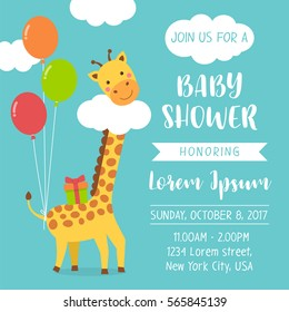 Cute giraffe cartoon illustration for baby shower invitation card design template