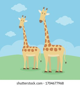 Cute giraffe cartoon standing on the grass with cloud and blue sky.