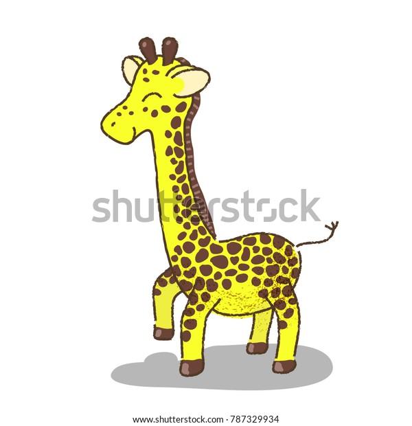 Cute Giraffe Cartoon Vector Illustration On Stock Vector Royalty