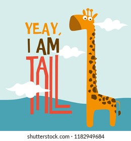 cute giraffe doodle kids, vector illustration