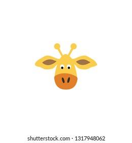 cute giraffe face cartoon icon on a white background